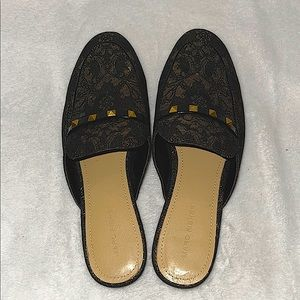 Marc Fisher Wishing Black and Gold Lace Mules
